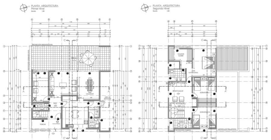 foto plano de arquitectura para casa de dos pisos de
