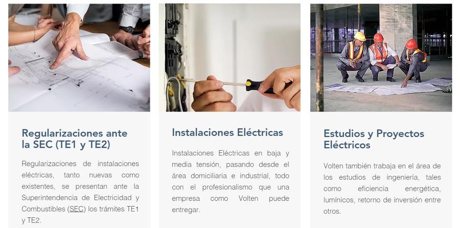 Empresa Volten ofrece servicios de:  -Aumento de Empalme Eléctrico. -Certificados TE1 (T1) para ampliaciones de casas. -Certificaciones ante la SEC para Negocios y hogares. -Entrega Certificados TE2. - Entrega Certificados TE4.  Contamos con Licencia Clas