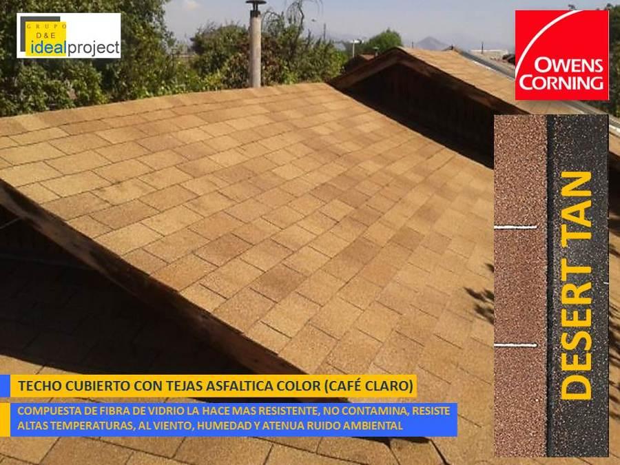Foto teja asfaltica color caf claro de idealproject for Materiales para techos de casas