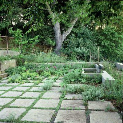 Jardín, detalle pavimentos