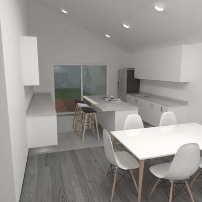 Render propuesta open space para living - comedor - cocina