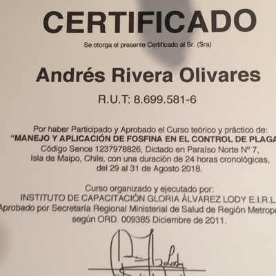 Certificado de aplicador Fosfina