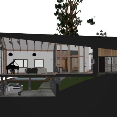 Corte Isométrico 3D Casa L-K
