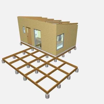 Render Cabaña Prefabricada Obra Nueva 18m2