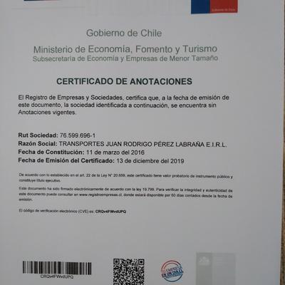 Certificado de Anotaciones  de Transportes JRPL .