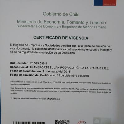 Certificado de Vigencia