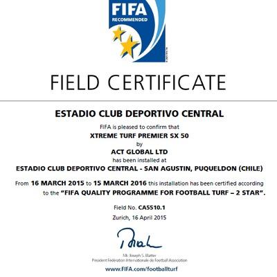 Certificado FIFA 2 Estrella Estadio Puqueldon
