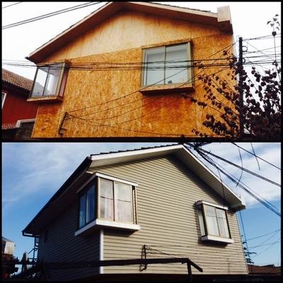 un antes y un despues remodelacion siding parte delantera casa
