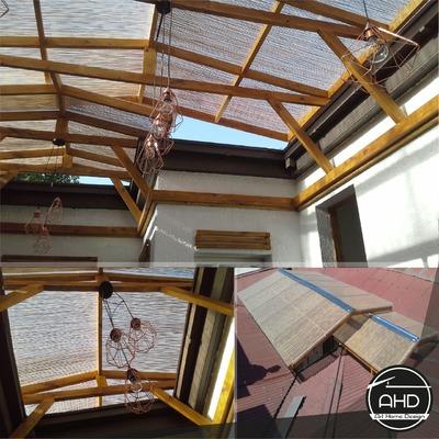 Construcción de techo de madera y policarbonato.