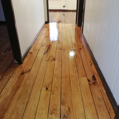 Futrono, pasillo casa oficina madera pino natural