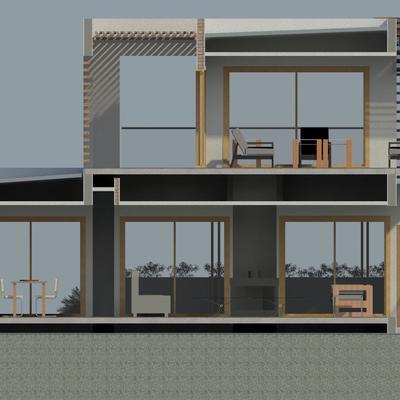 Render de sección interior transversal  - Proyecto de arquitectura de  Vivienda FVM - La Cruz - Quillota - 2013