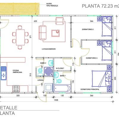 Planta 72.23 m2