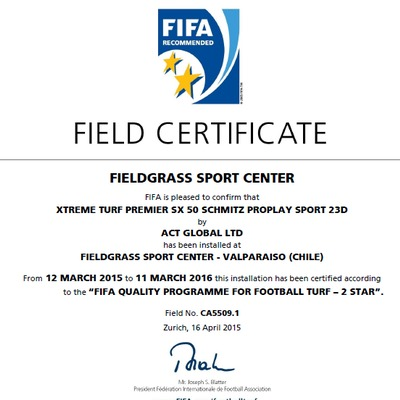 Certificado FIFA 2 Estrella FIeldgrass Sport Center Valparaiso.