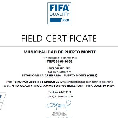 Certificado FiFA 2  Estrella Estadio Villa Artesania