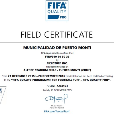 Certificado FiFA 2  Estrella Estadio  Alerce