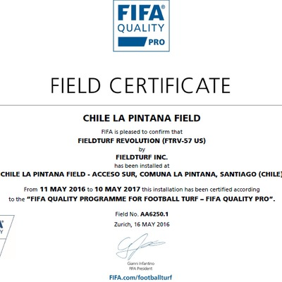Certificado FiFA 2 Chile La Pintana