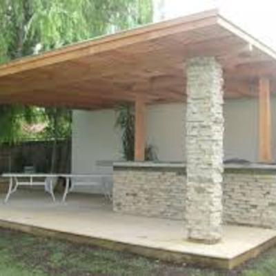 Terraza  con techo en voladizo