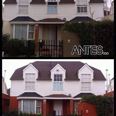 Antes y después de pintura exterior y limpieza de siding