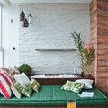 Terraza con muros de ladrillo