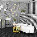 Baño con motivos geométricos