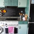 Cocina en tonos beige y verde