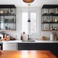 Cocina con estantería de diseño