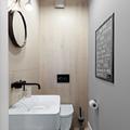 Grifería negra en baño remodelado