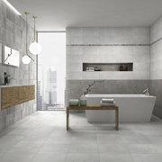 Baño compartido en gris y blanco