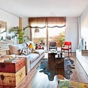 Living decorado con textiles