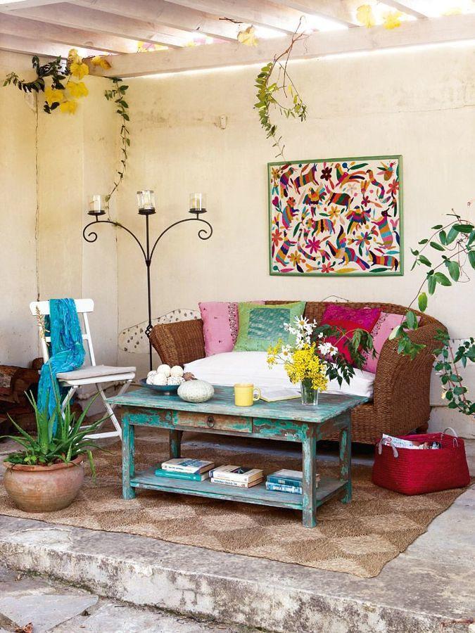 terraza con sofá exterior