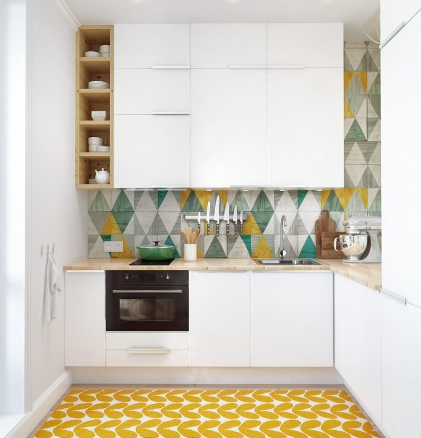 cocina con suelo amarillo