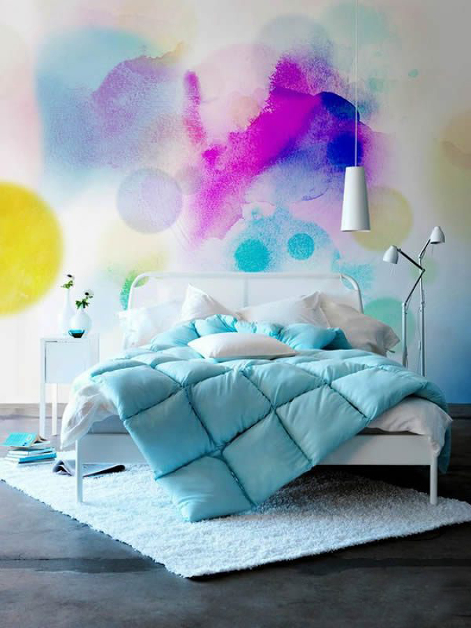 pared pintada con acuarela