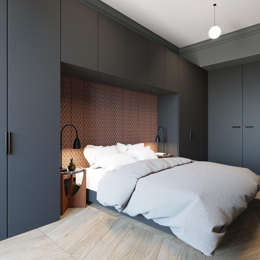 """armario a medida con forma de """"U"""" invertida rodeando la cama"""
