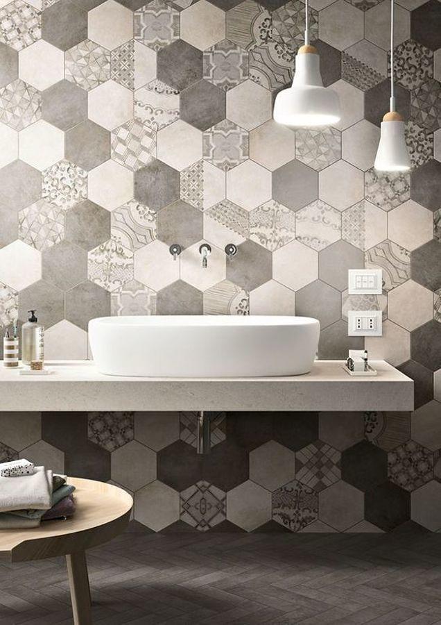 Azulejo de baño con forma de nido de abeja