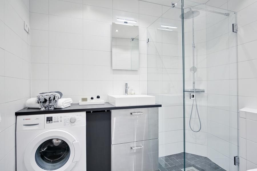 Lavadora en baño