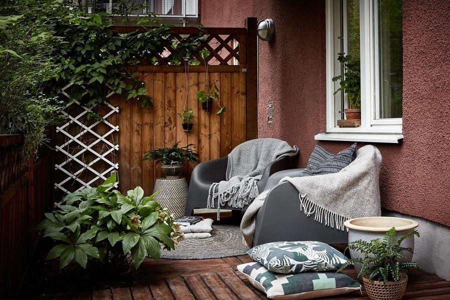 terraza con celosía de madera
