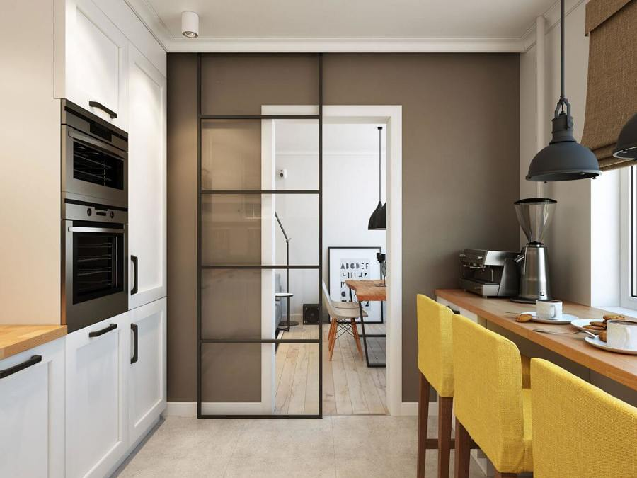 cocina con puerta corredera ligera - Puertas Correderas Cocina