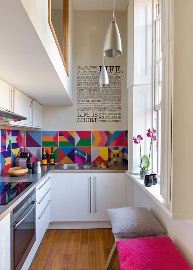 Cocina con baldosines de colores