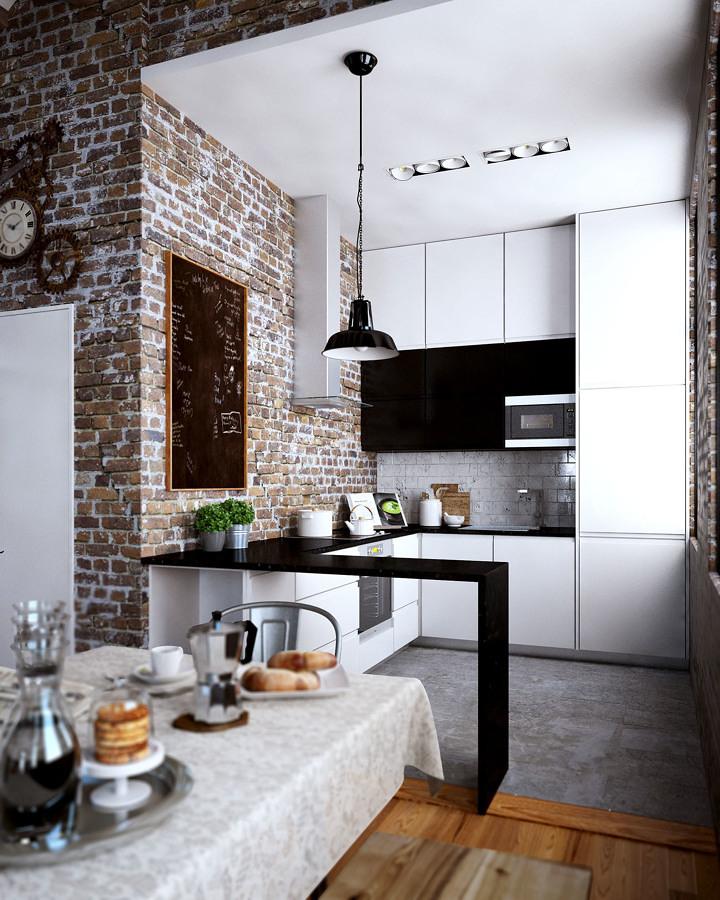 Cocina con pared ladrillo vista