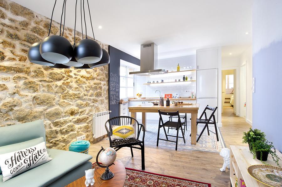 Cocina y salón integrados en el mismo espacio