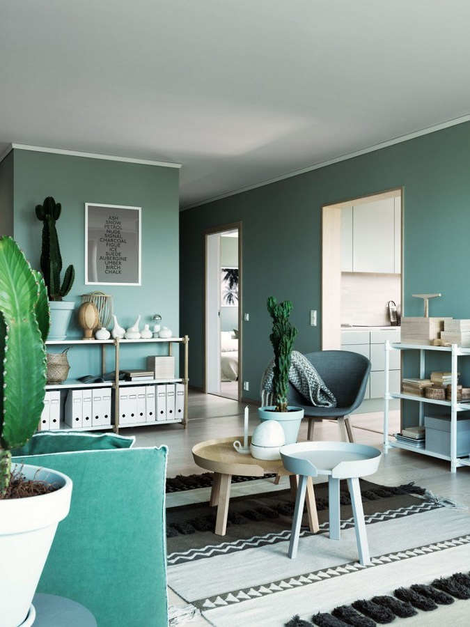 Living pintado en verde