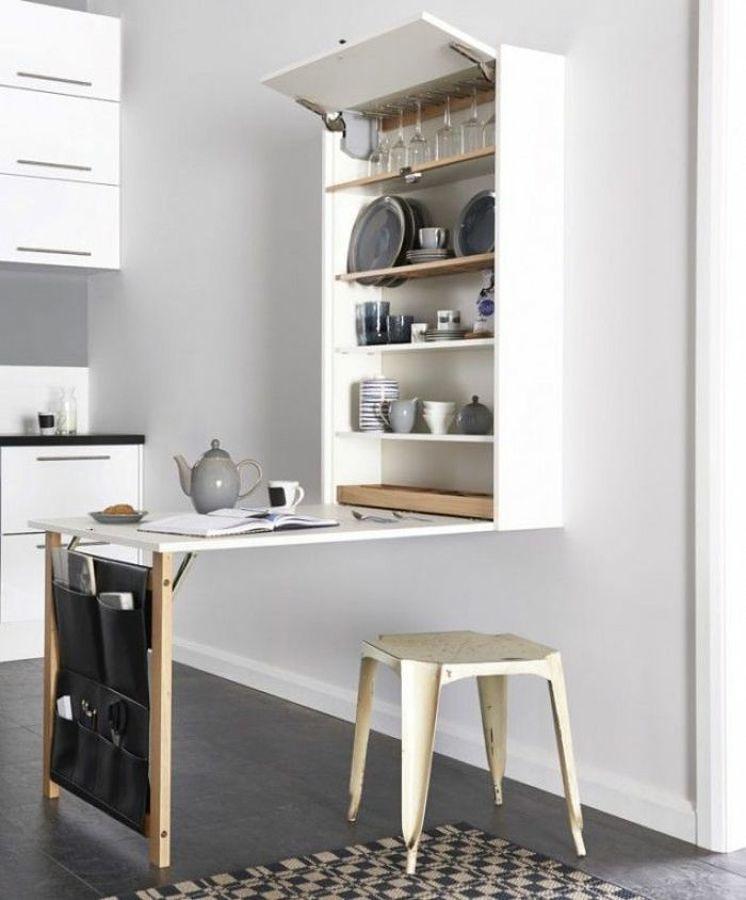 Cocina con muebles plegables