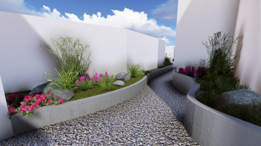 Foto dise o de jardinera y camino de acceso al patio for Jardineras para patio casa