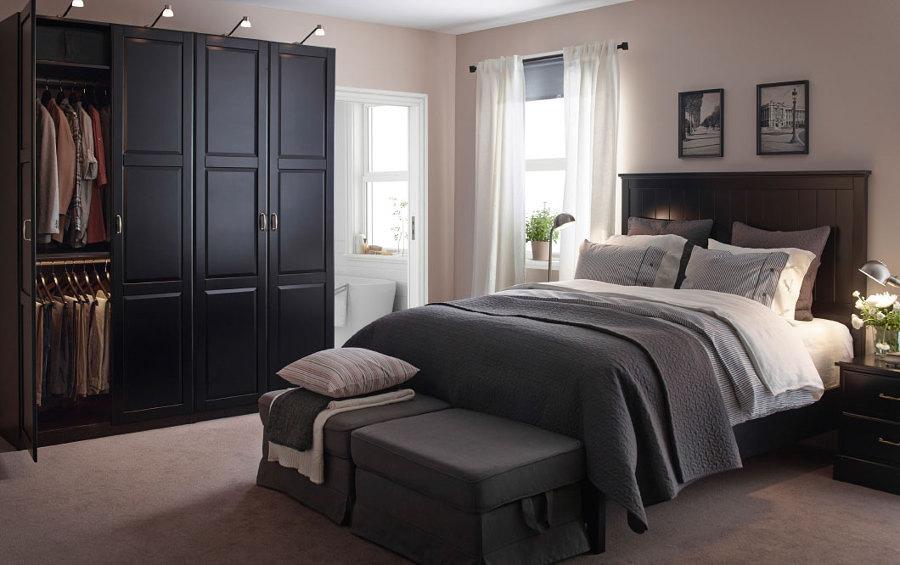 Dormitorio sobrio en gris