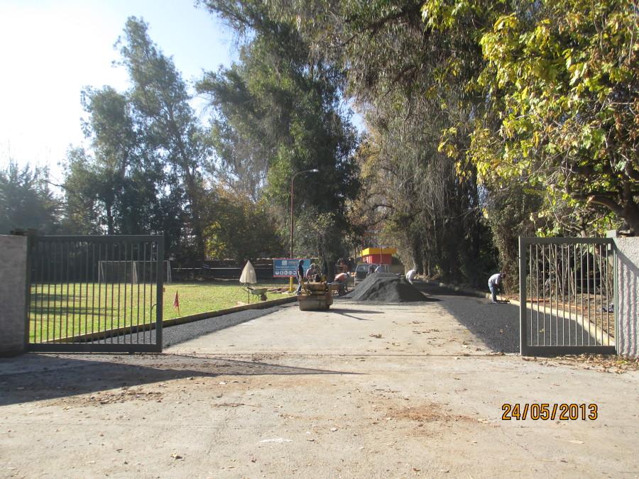 En proceso de distribución de asfalto