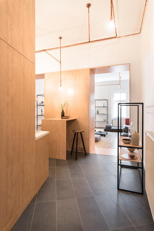 Entrada con mobiliario de madera