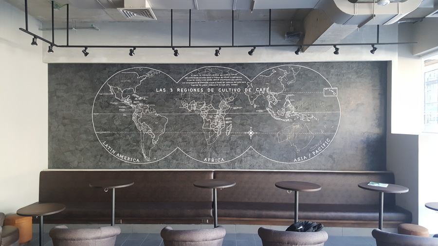 Estuco Starbucks las condes design realizado por Altdecor