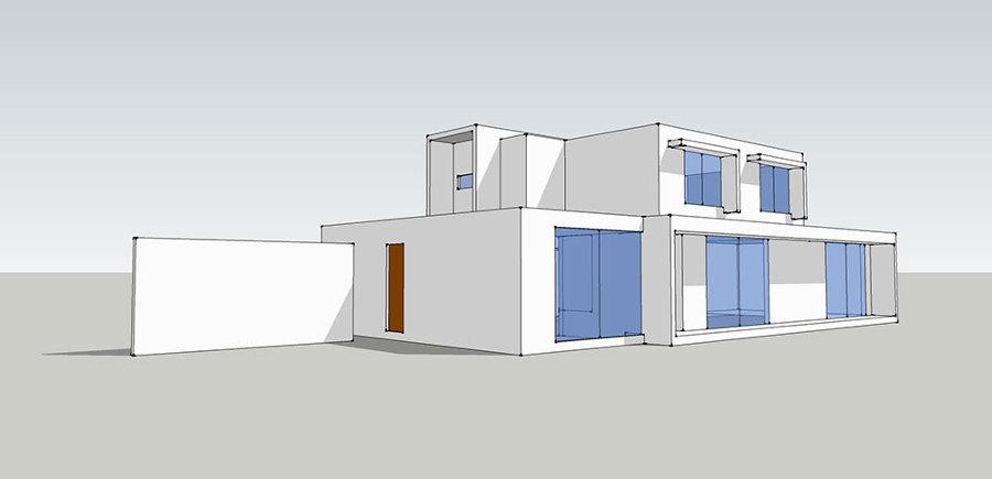 Fachada oriente - Casa Las Pircas