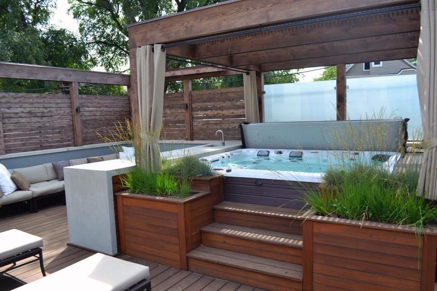 Foto jacuzzi con escaleras 112614 habitissimo - Sauna exterieur jardin moderne ...