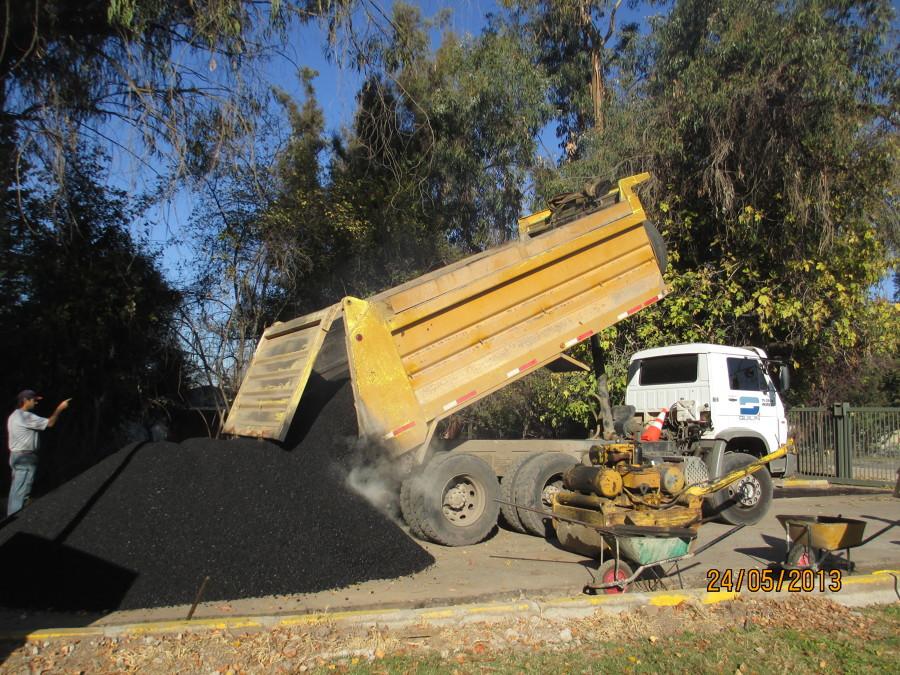 Llegada de asfalto
